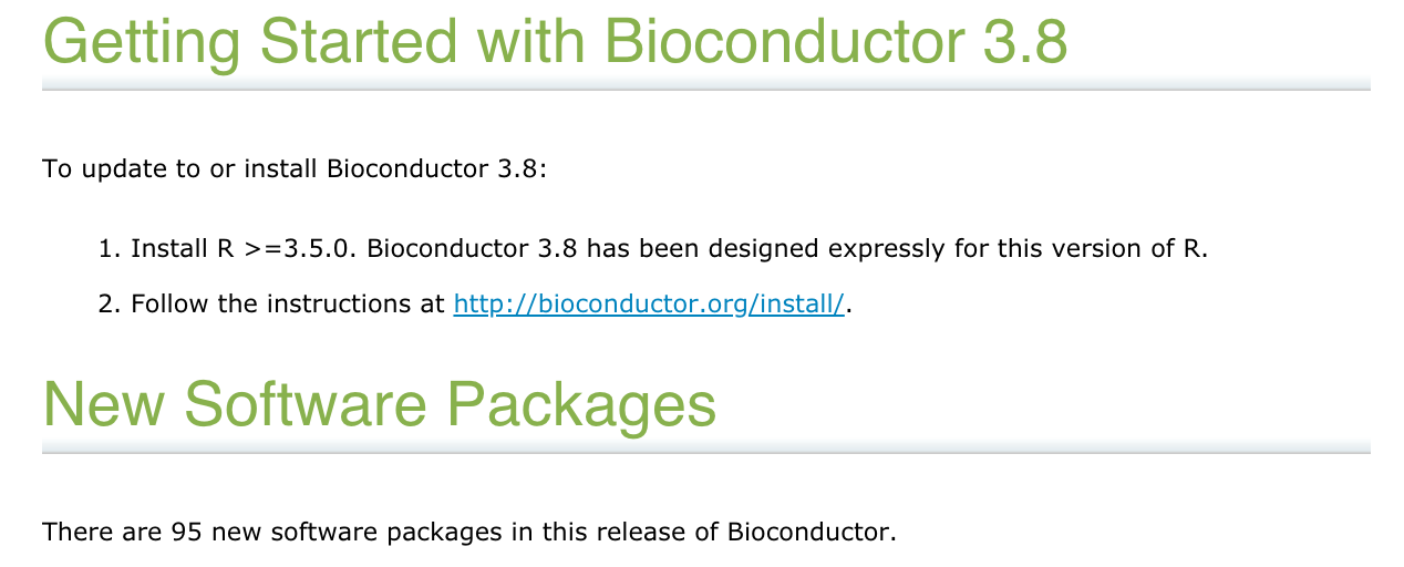 Quick overview on the new Bioconductor 3.8 release